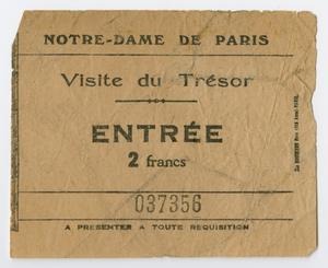 Primary view of object titled '[Ticket from Notre-dame]'.