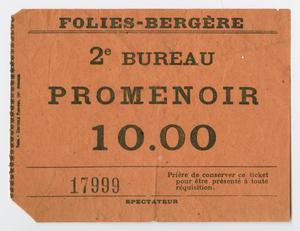 Primary view of object titled '[Ticket from Folies Bergère]'.