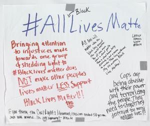 """[White """"#All(Black)LivesMatter"""" poster]"""