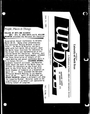 Primary view of object titled '[UNT UPDATE clipping, Vol. 21 No. 13, June 11, 1991]'.