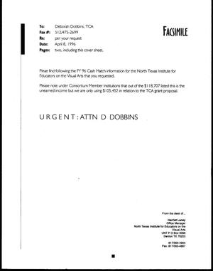 Primary view of object titled '[Fax from Harriet Laney to Deborah Dobbins, April 8, 1996]'.