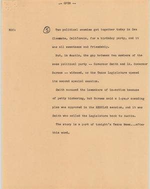 Primary view of object titled '[News Script: Texas bill bickering]'.