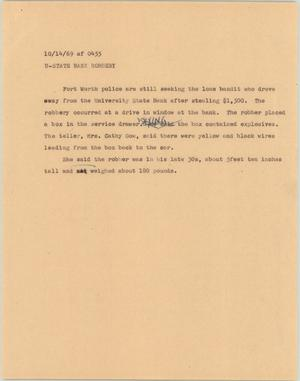 Primary view of object titled '[News Script: U-State Bank Robbery]'.