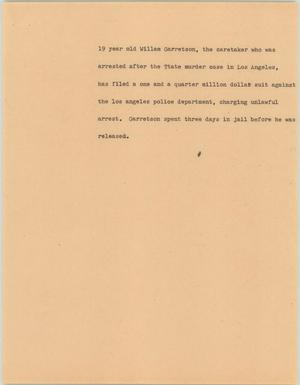 Primary view of object titled '[News Script: Garretson]'.