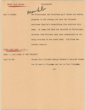 Primary view of object titled '[News Script: Mississippi]'.