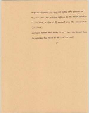 Primary view of object titled '[News Script: Chrysler Corporation buys Kaiser Jeep]'.