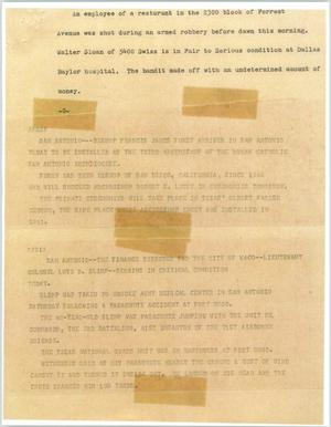 Primary view of object titled '[News Script: Misc Texas news]'.
