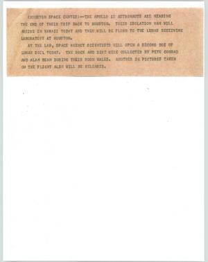 Primary view of [News Script: Apollo 12 / Space rocks]