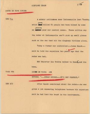 Primary view of object titled '[News Script: Airplane Crash]'.