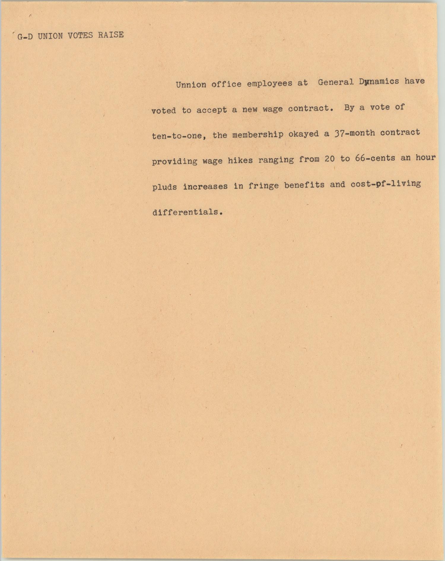 News Script: GD Union Votes Raise] - The Portal to Texas History