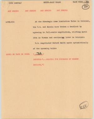 Primary view of object titled '[News Script: Smith-Salt talks]'.