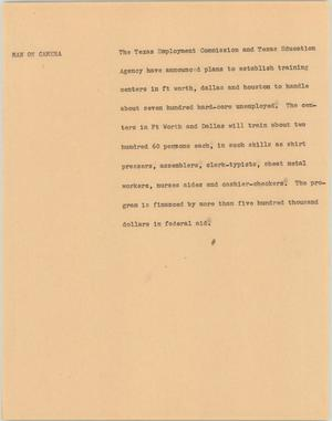 Primary view of object titled '[News Script: Training Centers]'.