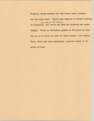 Primary view of object titled '[News Script: Tropical storm Felice]'.