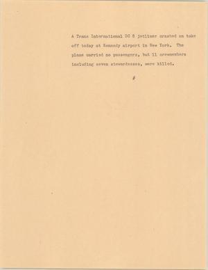 Primary view of [News Script: DC 8 plane crash]