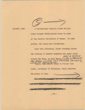 Primary view of object titled '[News Script: Storm Felice]'.