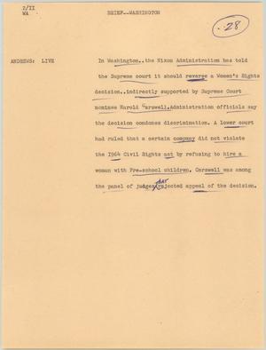 News Script: Washington, Nixon on Women's Rights, NBC News Scripts