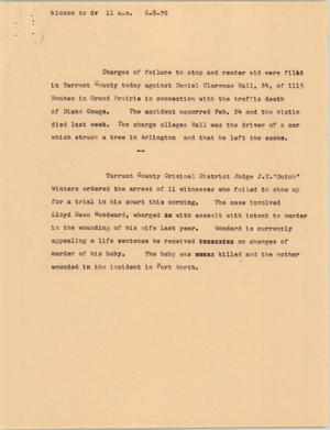 Primary view of [News Script: Tarrant County charges]