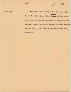 Primary view of object titled '[News Script: Agnew]'.