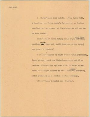 Primary view of object titled '[News Script: TWU flap]'.