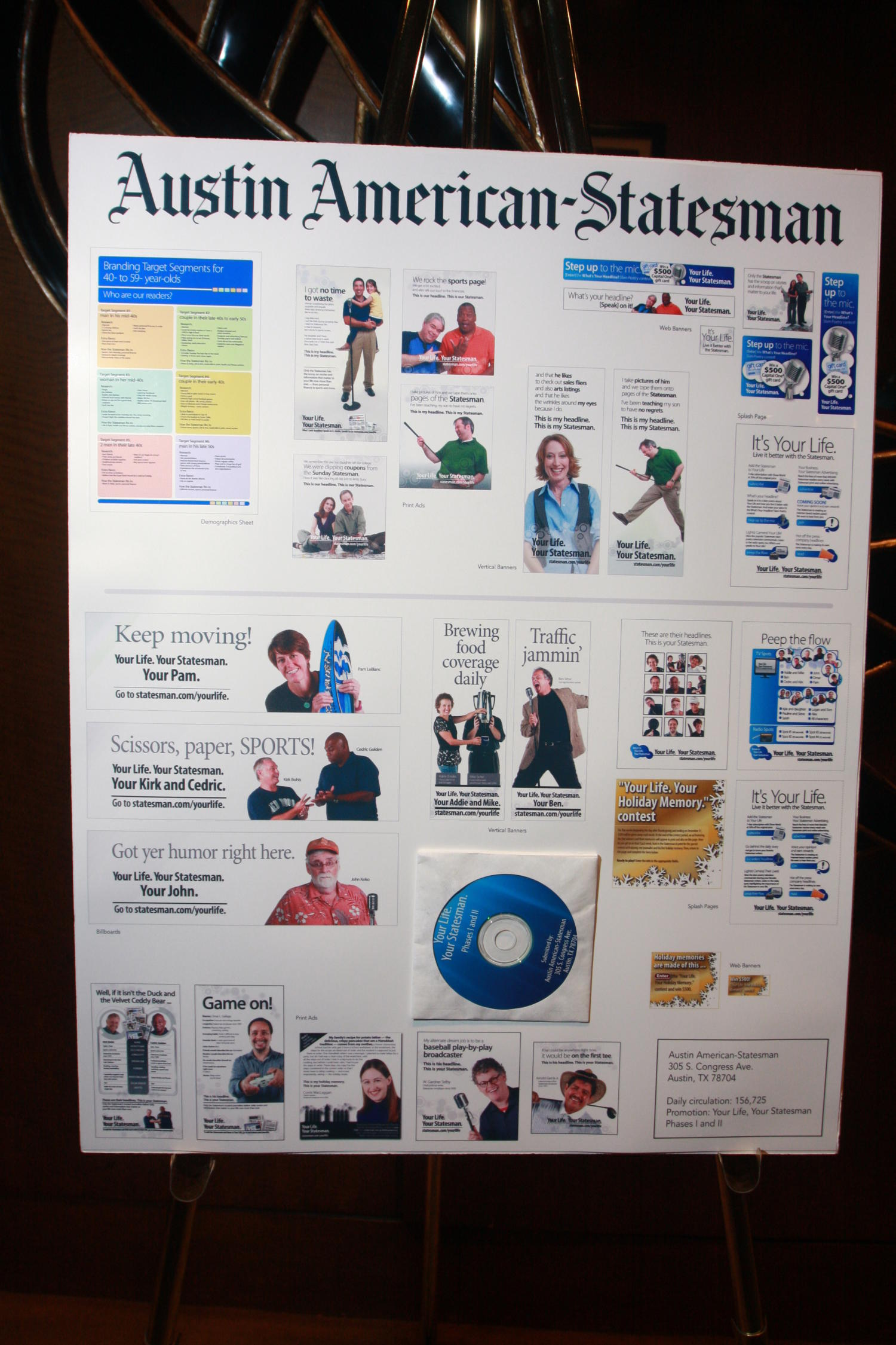[Austin American-Statesman poster board], Photograph of a poster-board for the Austin American-Statesman taken during the 2010 Texas Daily Newspaper Association annual meeting held in Houston, Texas.,
