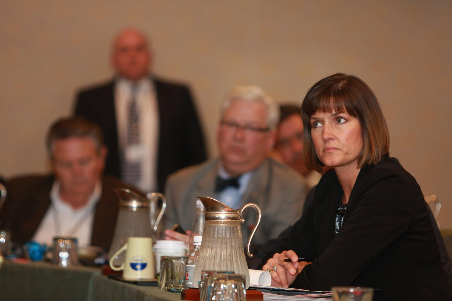 [Sandra Aven seated and attending a TDNA conference], Photograph of Sandra Aven seated at elongated tables with other guests as they are attending the 2010 Texas Daily Newspaper Association annual meeting held in Houston, Texas.,