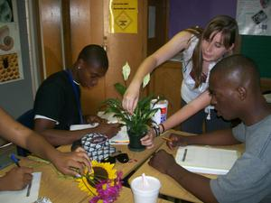 Primary view of [Serena Hobbs helping students]