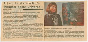 Clipping: Art works show artist's thoughts about universe, Shows - Personnel Data, 1952-1986