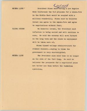 Primary view of object titled '[News Script: News conference proposal]'.
