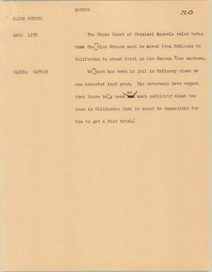 Primary view of object titled '[News Script: Watson]'.