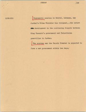 Primary view of [News Script: Jordan]