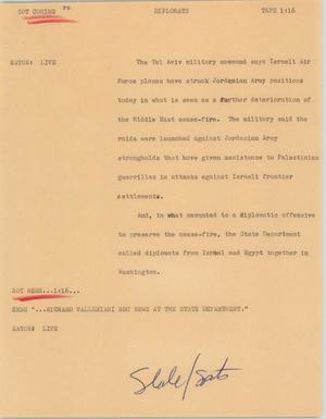 News Script: Diplomats, Israel and Jordan update, NBC News Scripts