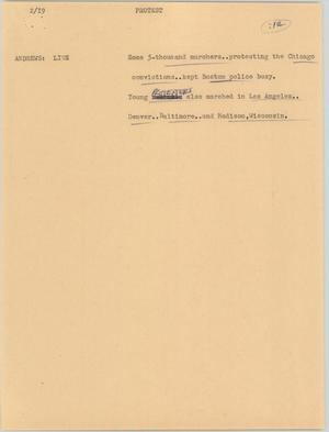 Primary view of object titled '[News Script: Protest]'.
