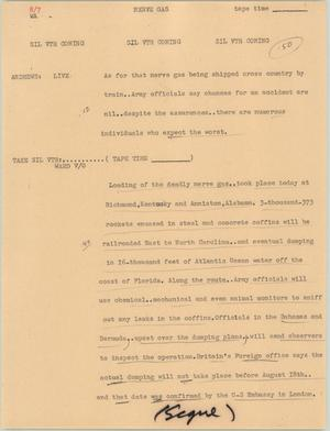 Primary view of object titled '[News Script: Nerve gas]'.