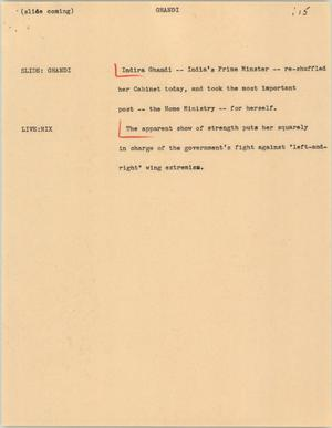 Primary view of object titled '[News Script: Ghandi]'.
