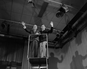 Primary view of [Roy and Curly on a platform]