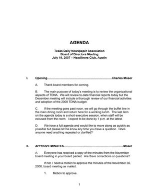Primary view of object titled 'TDNA Meeting Agenda, July 19, 2007'.