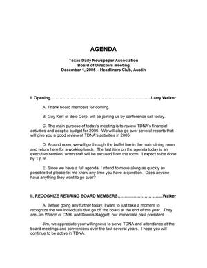 Primary view of object titled 'TDNA Board of Directors Meeting Agenda, December 1, 2005'.
