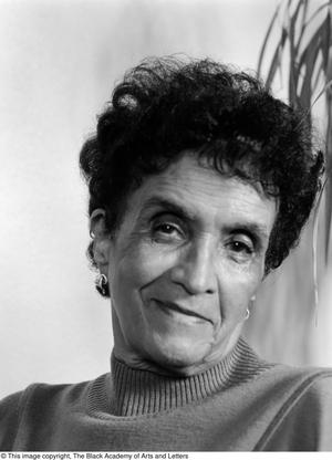 Black and white close up photograph of Eva McMilliam.