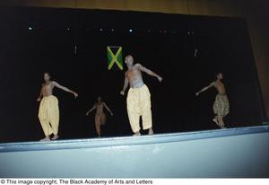 Primary view of object titled '[Male dancers during Lift Up Jamaica musical]'.