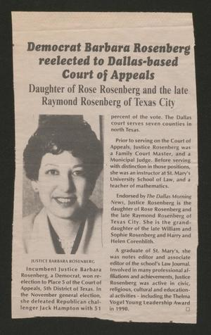 A newspaper clipping with the title at the top in bold letters, the left side has a photo of a woman, and on the right is column of text.