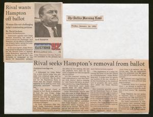 A newspaper clipping in two pieces on a white page. Part of the clipping sits at the top left corner, with a photo of a man and an article title, while the main text sits along the bottom right with four columns of text.