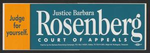 A blue and yellow bumper sticker. The yellow part on the left says Judge For Yourself, the blue part says Rosenberg in big white letters.