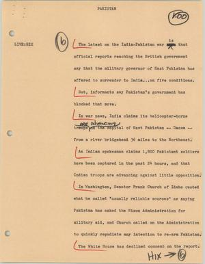 Primary view of object titled '[News Script: Pakistan]'.