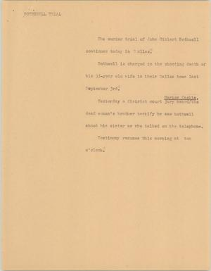 Primary view of [News Script: Bothwell trial]