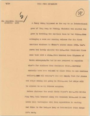 News Script: Ping pong diplomats, NBC News Scripts