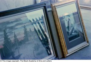 Photograph of two of James Edward Kemp's art works are display, Tony Dorsett Benefit, 1979