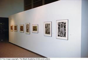 Primary view of object titled '[Left-angled shot of an African gallery wall, featuring seven abstract art works]'.