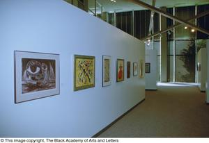 Primary view of object titled '[Right-angled shot of an untitled gallery wall, featuring seven art works, with two gallery walls in the background]'.