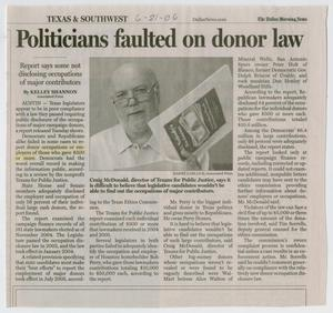Primary view of object titled '[Clipping: Politicians faulted on donor law]'.