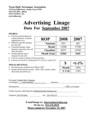 Primary view of object titled '[TDNA Advertising Linage Report for the Temple Daily Telegram, September 2008]'.